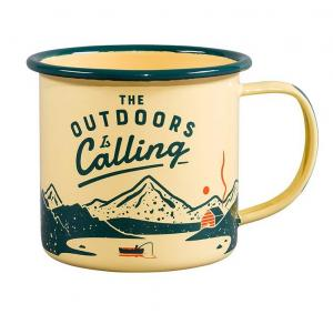 Emaljmugg retro med tryck The outdoor is calling.
