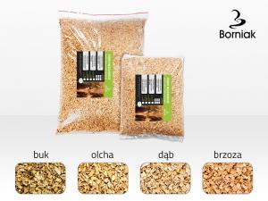 Säck med 60 liter grovt alspån för Borniak rökskåp.
