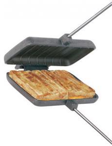 Smörgåsjärn dubbelt i gjutjärn för öppen eld eller spisen