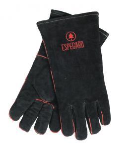 Grillhandskar i läder från Espegard, svarta med röd logga och brodyr.
