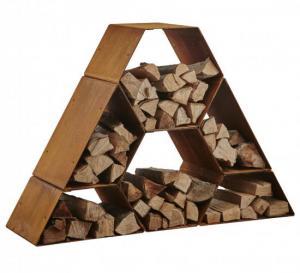 Vedförvaring corten pyramid