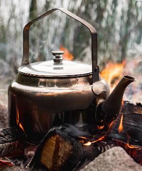Rostfri kaffepanna för lägerelden